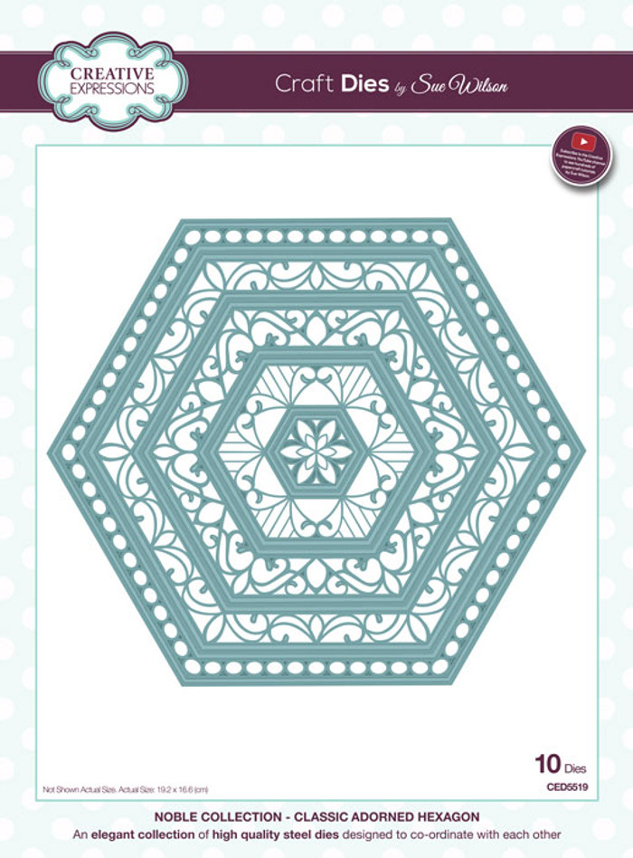 Sue Wilson Noble Collection Dies - Classic Adorned Hexagons CED5519