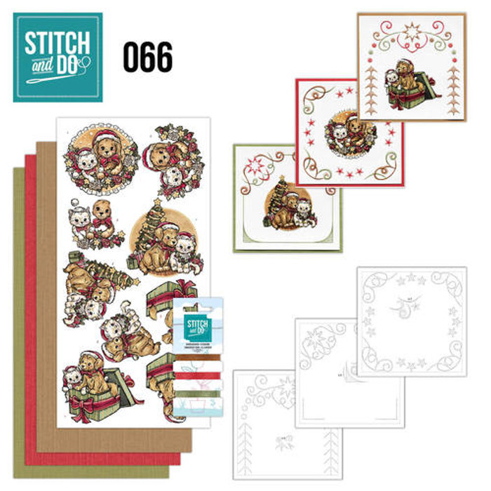 Stitch and Do 66 - Card Embroidery Kit - Christmas Animals STDO066