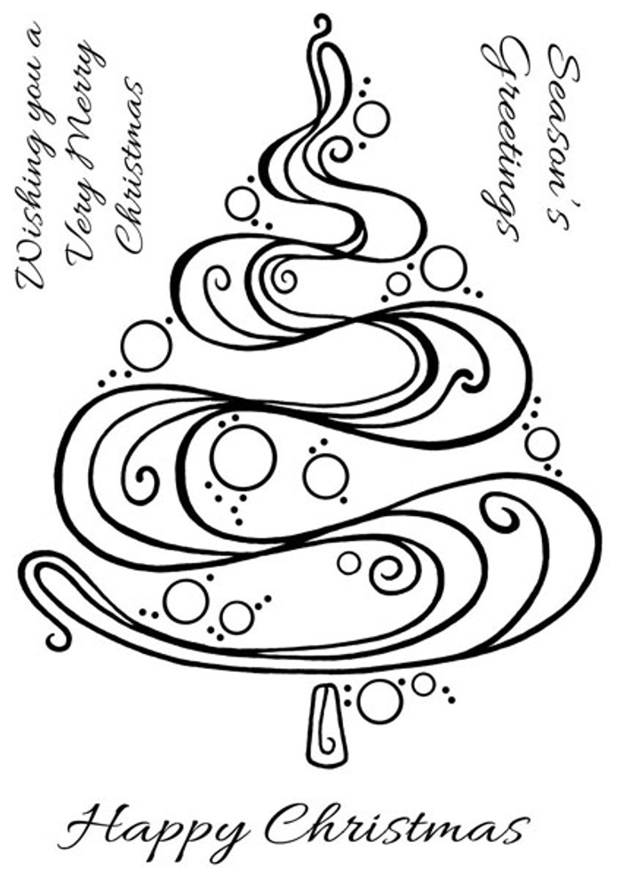 Woodware Clear Stamp - Curly Christmas Tree FRS272
