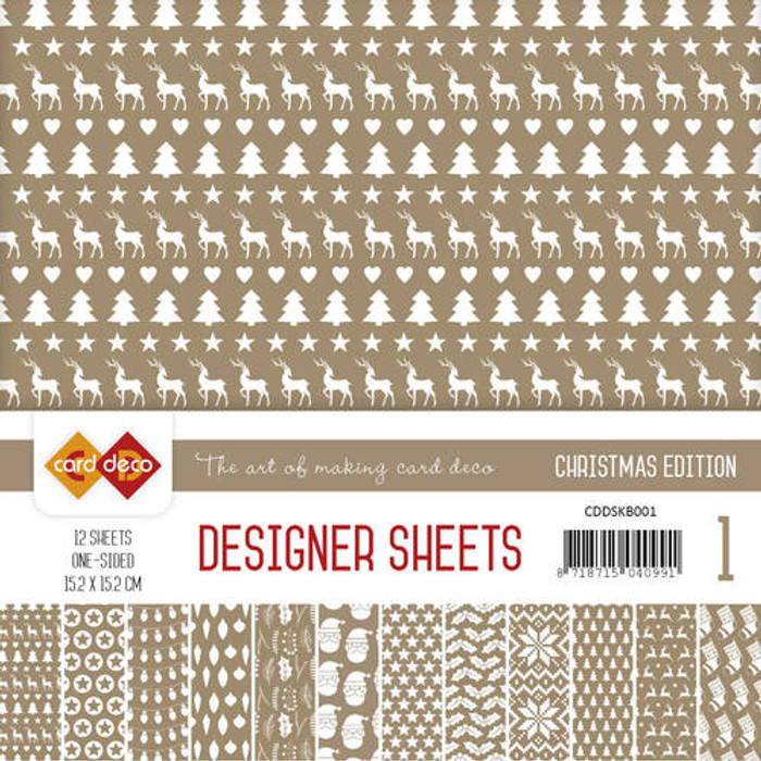 Card Deco Designer Sheets - Christmas Edition - Coffee Brown CDDSKB001