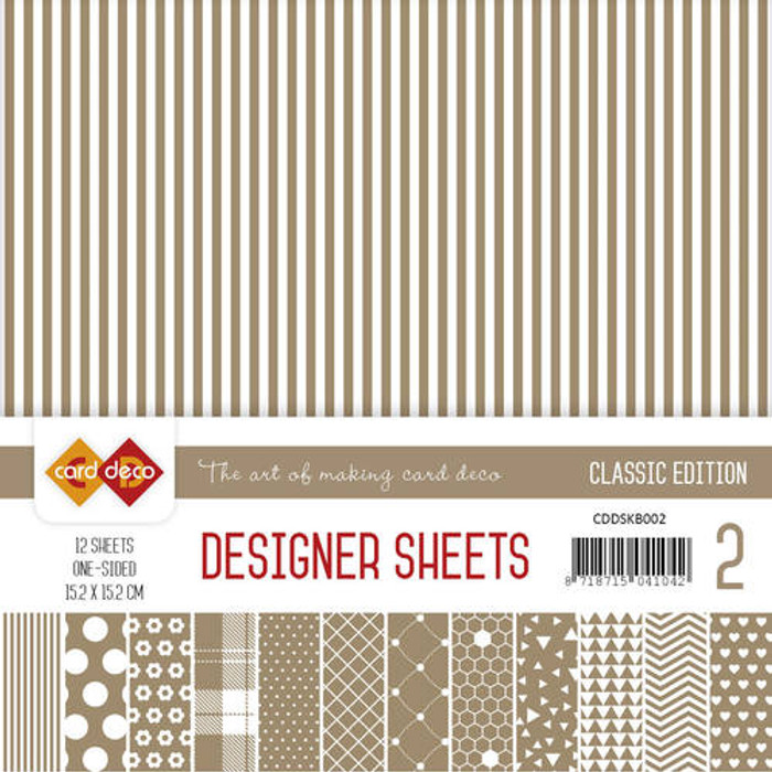 Card Deco Designer Sheets - Christmas Edition 1 - Coffee Brown 15.2cm x 15.2cm - 12 Sheets