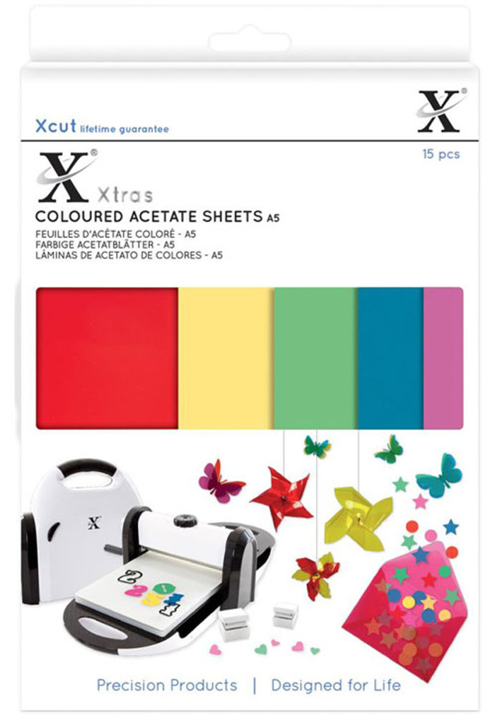 XCut Xtra A5 Coloured Acetate Sheets - 15 Sheets XC174401