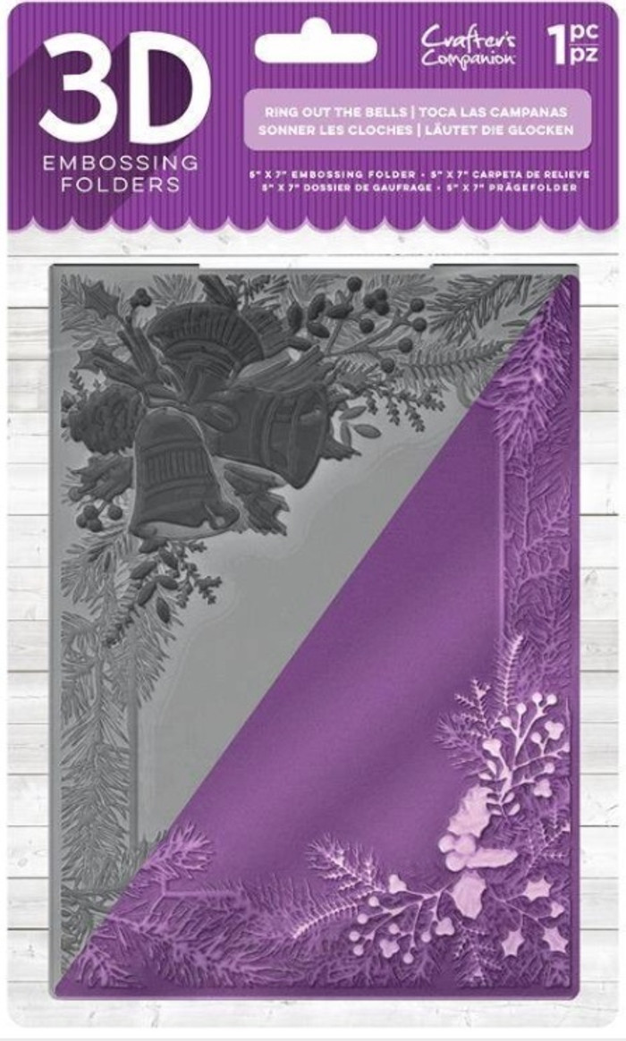 "Crafter's Companion 3D Embossing Folder 5"" x  7""-  Ring Out The Bells"