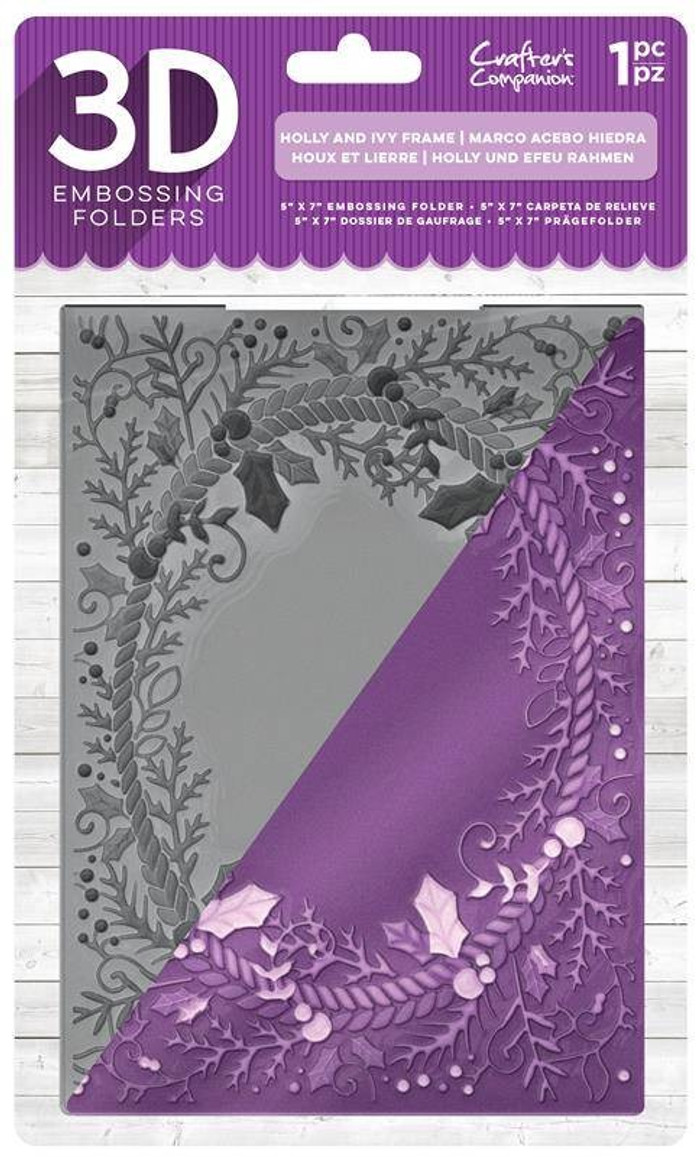 "Crafter's Companion 3D Embossing Folder 5"" x  7""-  Holly & Ivy Frame"