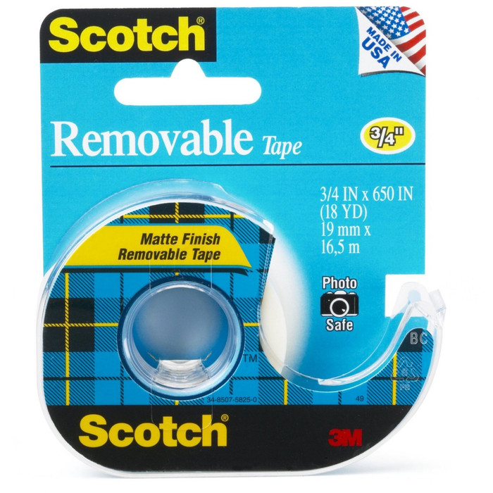 Scotch Removable Tape in Dispenser 19mm