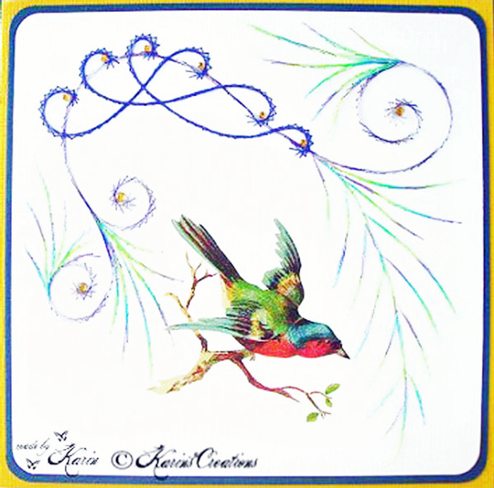 Karin's Creations Card Stitching e-Pattern - Bird's Song KC003e