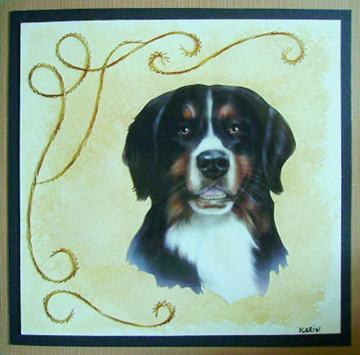 Karin's Creations Card Stitching e-Pattern - Rob's Dog KC009e