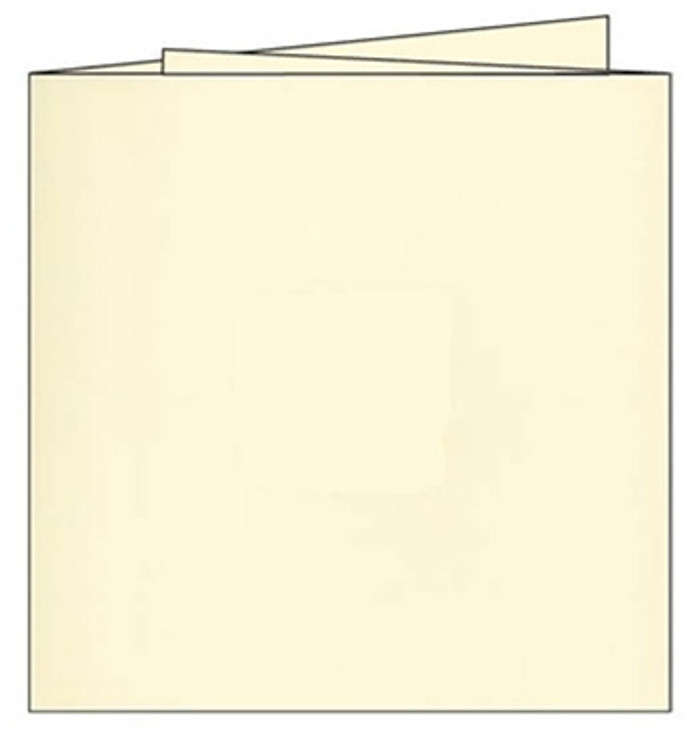 140mm Square 3-PANEL SMOOTH Cards 280gsm with Envelopes - SOFT CREAM - Pk 5