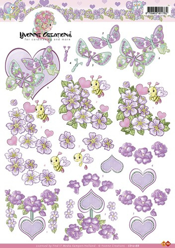 3D Sheet Yvonne Creations - Purple Valentine Flowers  CD10188