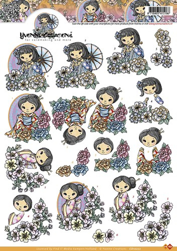 3D Sheet Yvonne Creations - Geishas CD10222