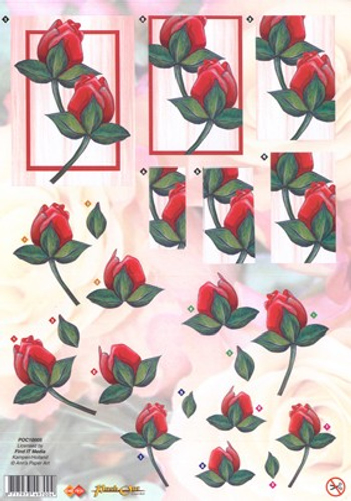 3D Die-Cut Sheet Ann's Paper Art - Red Roses  POC10005
