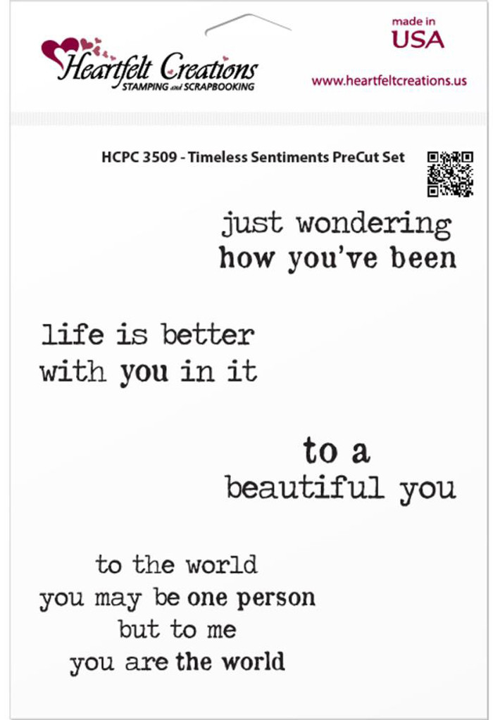 "Heartfelt Creations Cling Rubber Stamp Set - Timeless Sentiments  5"" x 6.5"""