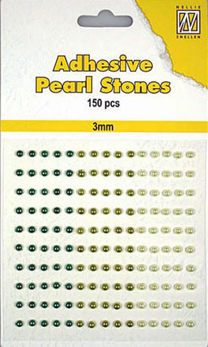 Nellie Snellen Self-Adhesive Pearls - 150 x 3mm - 3 Shades of Green