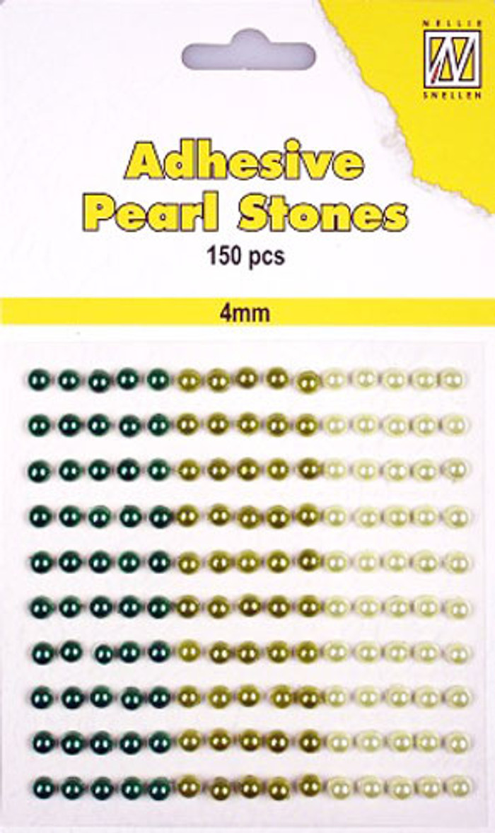 Nellie Snellen Self-Adhesive Pearls - 150 x 4mm - 3 Shades of Green