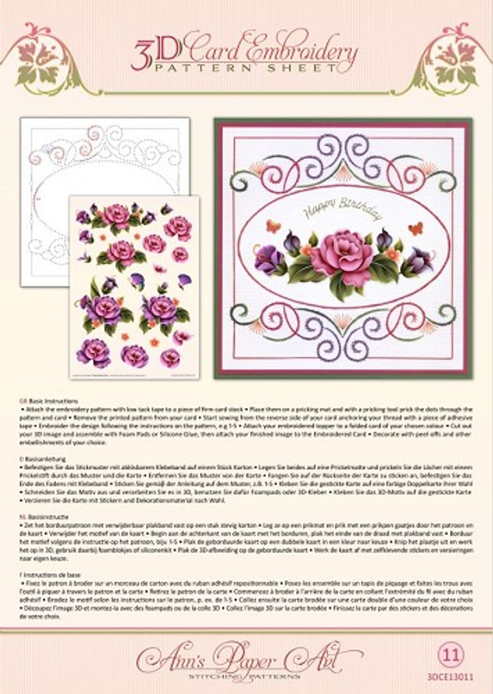 Ann's Paper Art 3D Card Embroidery Pattern Sheet - Enchanted Garden CE13011
