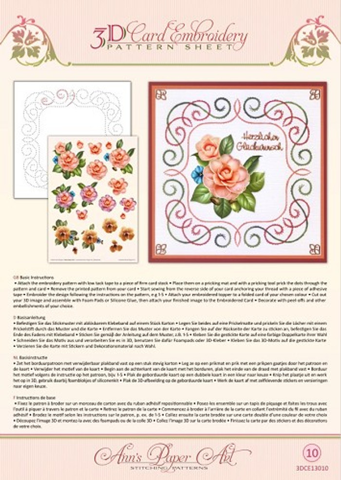 Ann's Paper Art 3D Card Embroidery Pattern Sheet - Camellia CE13010