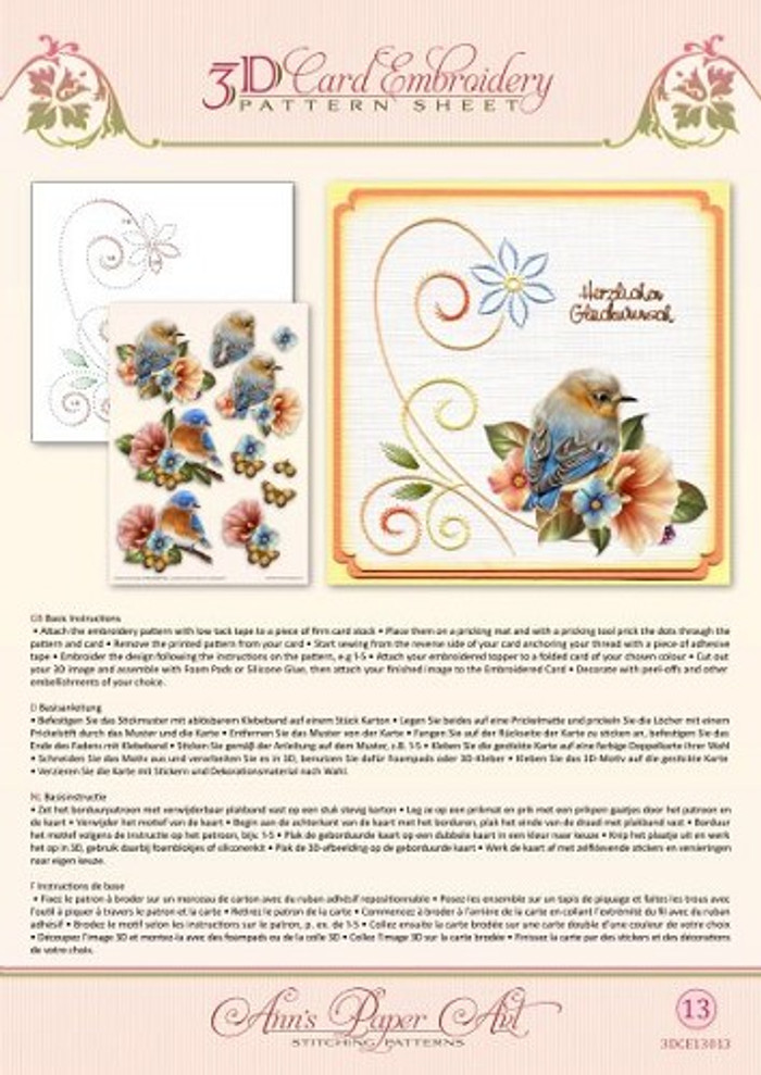 Ann's Paper Art 3D Card Embroidery Pattern Sheet - Bluebirds CE13013