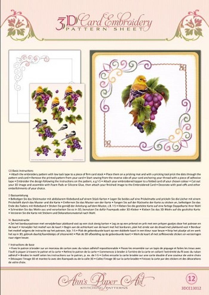 Ann's Paper Art 3D Card Embroidery Pattern Sheet - Grapevine CE13012