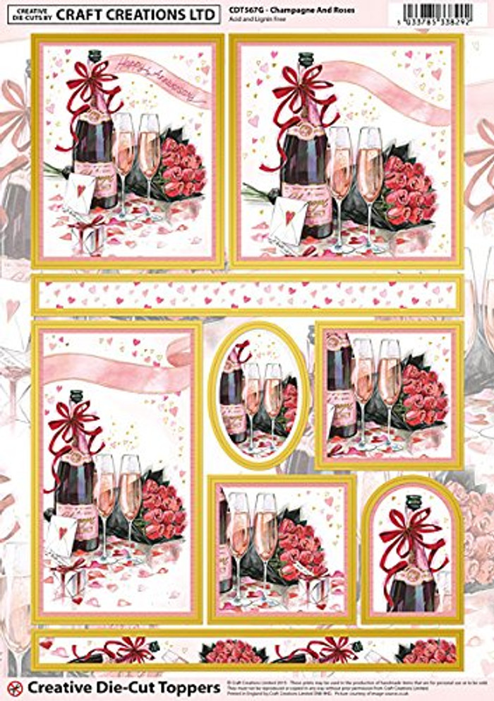 Craft Creations A4 Die-Cut Topper Sheet - Champagne & Roses