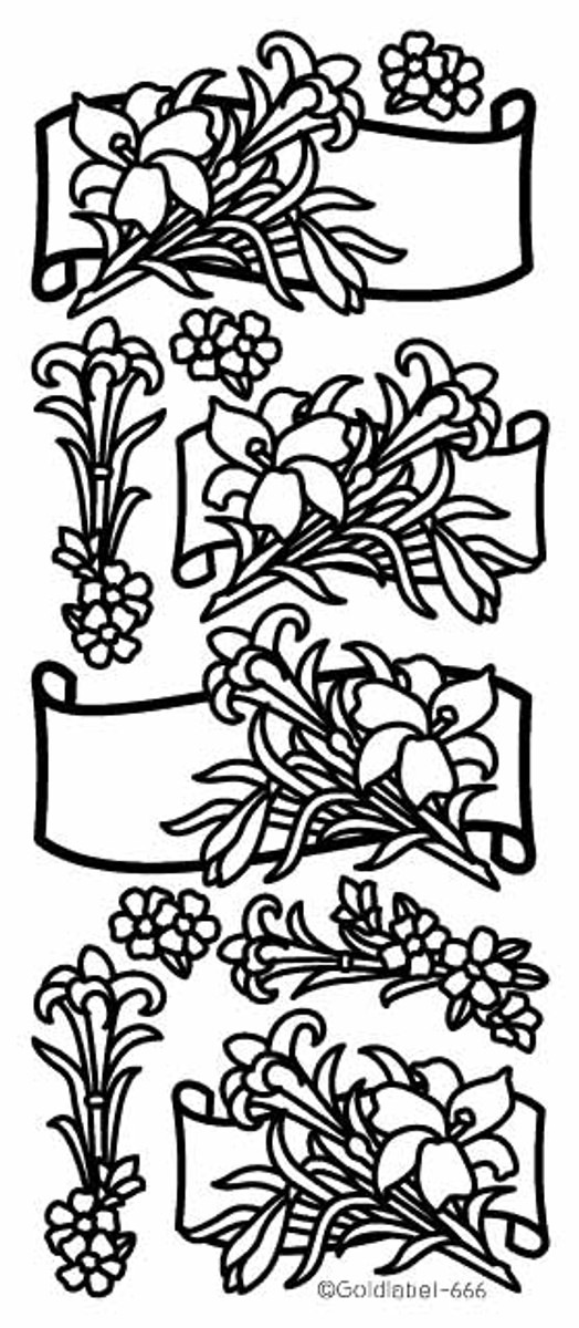 Craft Creations Peel-Off - Lily Floral Scrolls GOLD  666