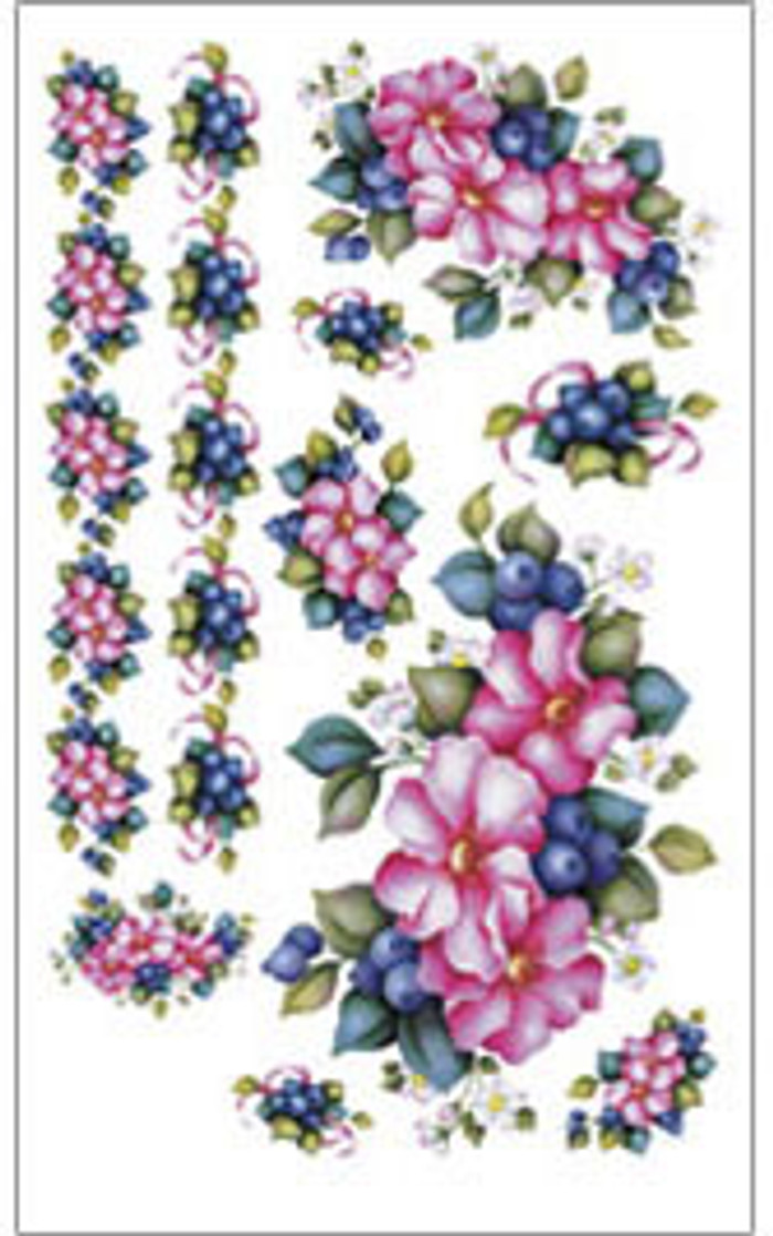 E-Z  Rub-On Transfers - Blueberry/Roses  GOR230