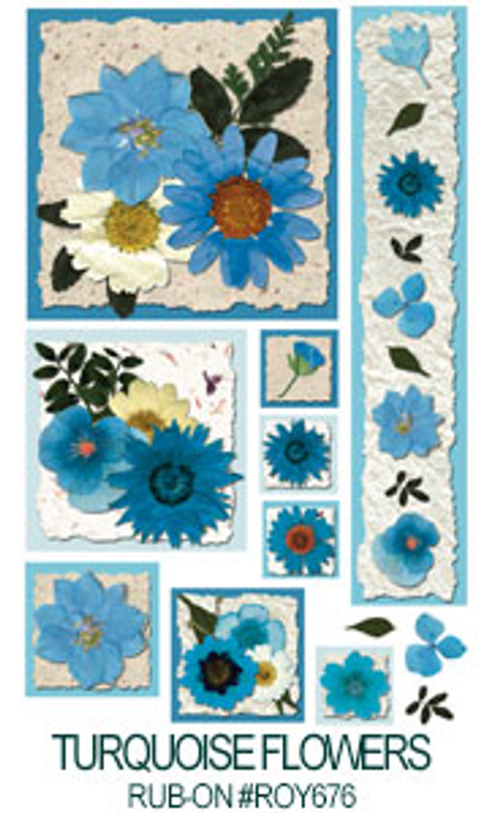 E-Z  Rub-On Transfers - Turquoise Flowers   ROY676