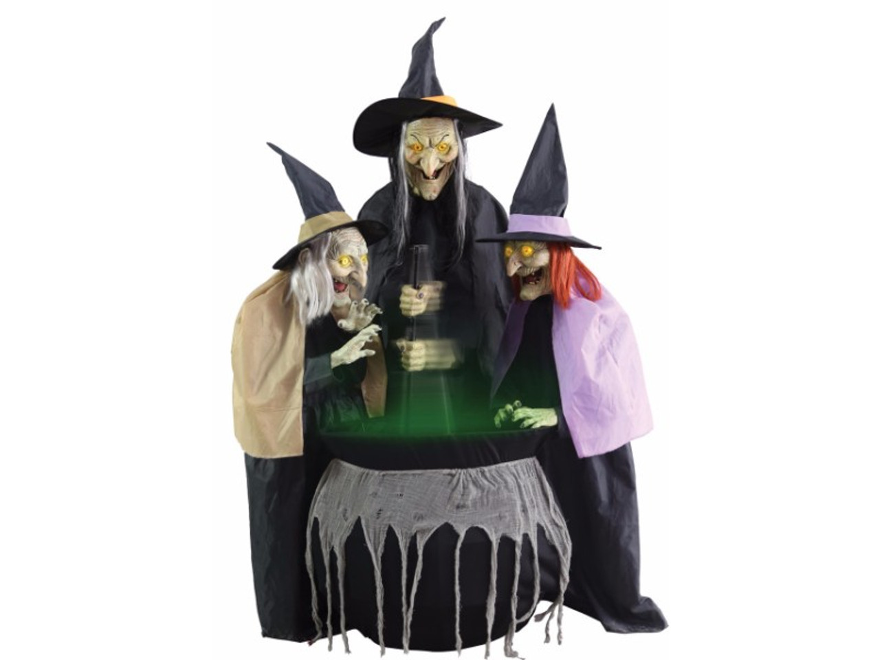 three witches are huddled around a large cauldron that you hear bubbling and brewing the