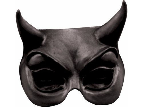 Black latex half mask of devil style motif.