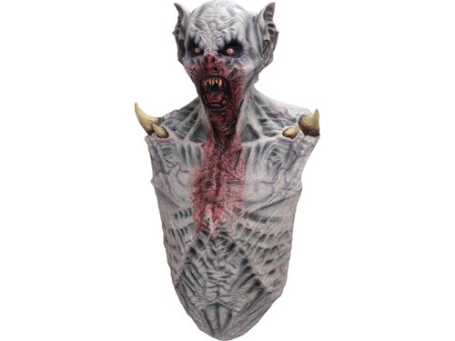Perfect finishing touch to your vampire costume. Fearsome zombie mask with attached chest piece with blood stains and innards visible. 100% latex piece. Full over-the-head mask. One size fits most adults.