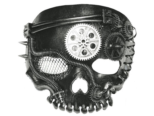 This mask is an interesting mix of both steampunk and horror! Mask is metal-like and skull shaped without the jaw, with mesh over one of the eyeholes and a large silver gear in the middle of the forehead. One size fits all.
