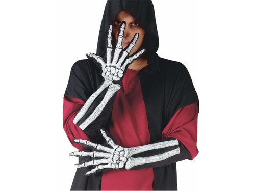 Adult sized, elbow length gloves with 3-D bones! Realistic, scary effect, but comfortable to wear.