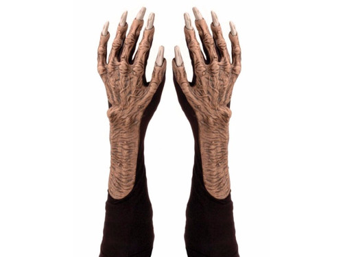 Black cloth gloves with monstrous latex detailing attached to upper part glove. Great dexterity is allowed with this unique design. Truly horrific look! Adult one size fits most.