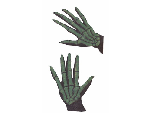 Comfortable black cloth gloves with eerie long extended vinyl bone fingers attached to the back of your hand for a 3-D realistic look. Neon green. Comfortable to wear. Easy hand movement. Skeleton gloves glow under black light. Add the perfect finishing touch to any costume! Stretch-fabric for hours of comfort, and easy use of hands for part fun!