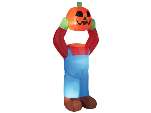 A great decoration for your haunted display! Inflatable Light-up Pumpkin Man is holding his detached head for a scary effect. Easy set-up, self inflates in seconds and deflates for easy storage. Blower is included. Weather resistant, good for indoor or outdoor use. 4 feet tall.