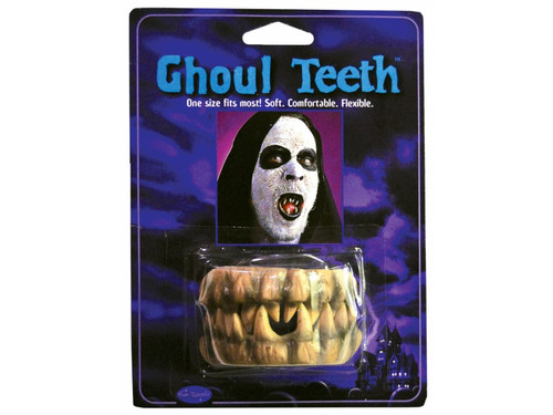 Easy to wear character teeth. One size fits most, soft flexible ghoulish fanged teeth.