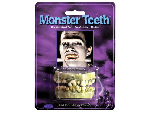 Easy to wear character teeth. One size fits most, soft flexible monstrous fanged teeth.