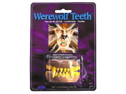 Easy to wear character teeth. One size fits most, soft flexible werewolf fanged teeth.