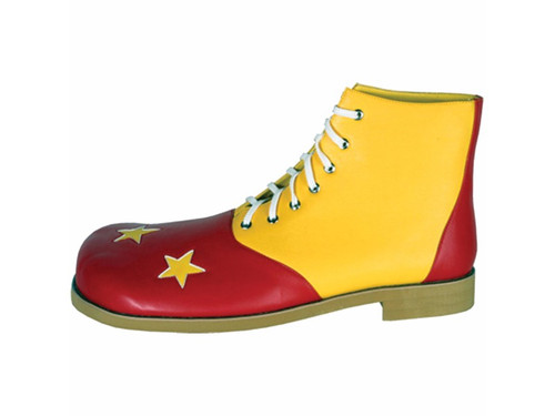 Men's red and yellow clown shoes with yellow stars. One size fits most up to size 14.