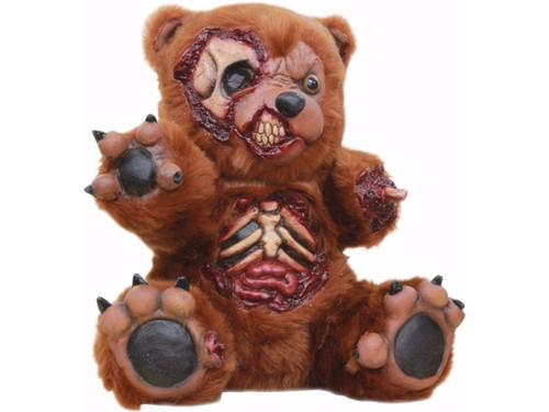 "This Teddy Bear got into a little trouble, attacked by the zombie virus and is now amongst the walking dead.  A latex prop that looks like a torn-up teddy with parts of torso and skull exposed. Perfect for your haunted display.  L - 13"" x W - 12"" x H - 8"""