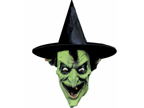 Realistic Latex Mask. Witch mask has pointed nose, missing teeth, and pointed ears. Hat not included.