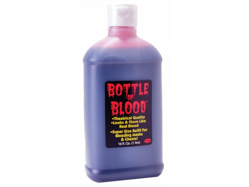 One pint of a realistic blood that flows like the real thing!  This is perfect for the one that needs more blood for the special FX effects. Caution:  Note that red pigment may stain skin, hair or clothing.