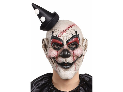 Horrific clown mask with clown make-up and blood detailing. Hat comes attached to mask. Latex.
