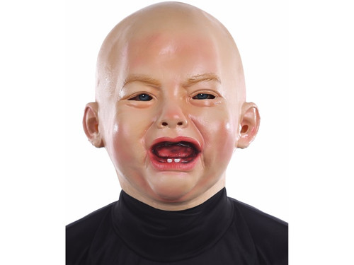 100% PVC full over-the-head crying baby mask, one size fits most adults.
