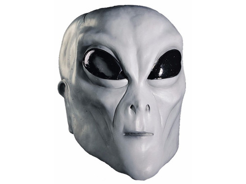 Hand painted full over-the-head latex mask. Grey alien with black eyes. One size fits most adults.