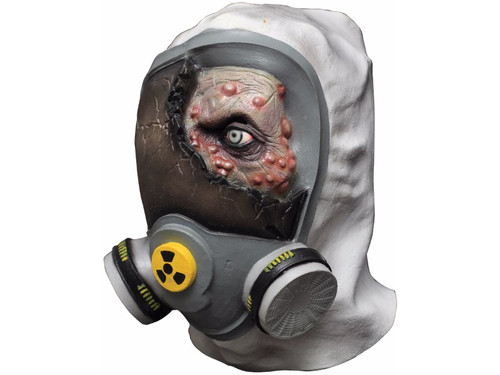 Latex full over-the-head mask of zombie head with the look of being partially covered with gas mask. One size fits most.