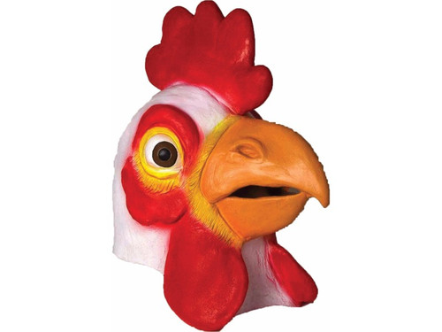 Realistic latex full over-the-head mask of a chicken. Great for gags! One size fits most.