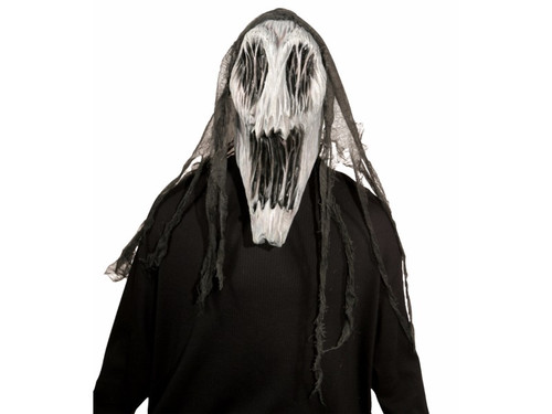 Impressive full over-the-head latex mask featuring a haunting ghost face with gauze fabric detail over the top of the head. One size fits most.
