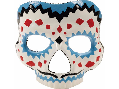 Brightly colored mask perfect for celebrating Mexico's Day of the Dead!! Male mask with mustache. Red, Black, Blue. One size fits most.