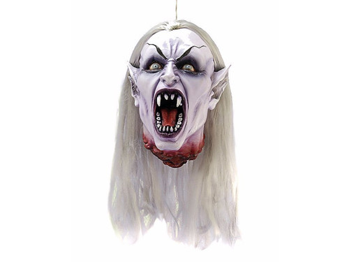 You will scream when you encounter this gothic female vampire head! This gruesome, cut-off head is made of latex and features horrifying, sculpted details of a vampire's face.  Very lifelike.  Make this a hanging attraction in your next haunted display.