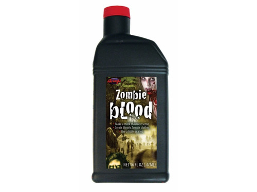 This bottle of blood is perfect for your zombie look.  One pint of the darkest red blood. Designed to look like old dried blood, it also has a thin consistency for easier splatter effects. Caution: red pigment may stain skin, hair and clothing.